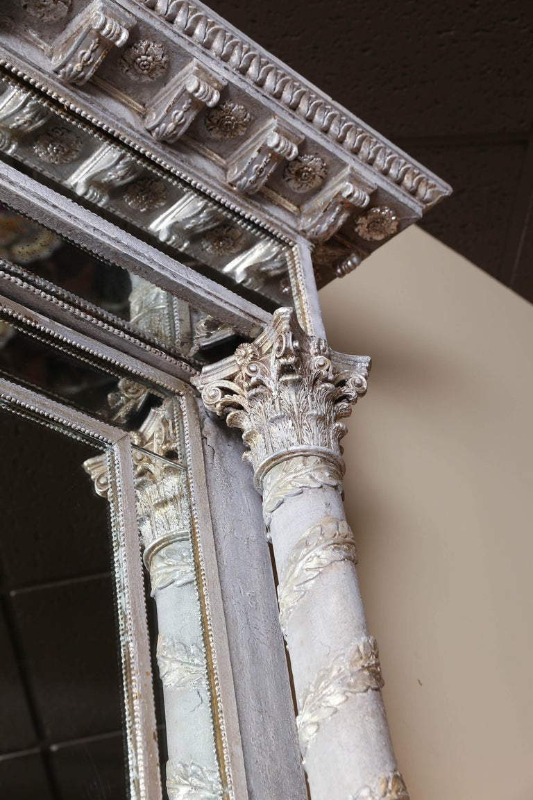 Empire Style Silver Leaf Mirror, 19th Century In Good Condition For Sale In Houston, TX