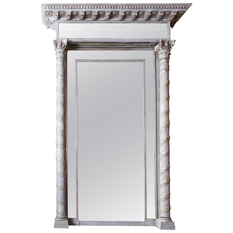 Empire Style Silver Leaf Mirror, 19th Century For Sale