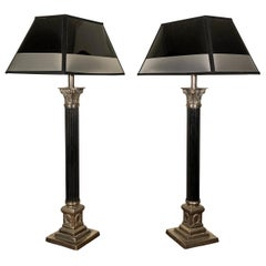 Empire Style Silvered and Black Engraved Metal Table Lamps, France, 1930s