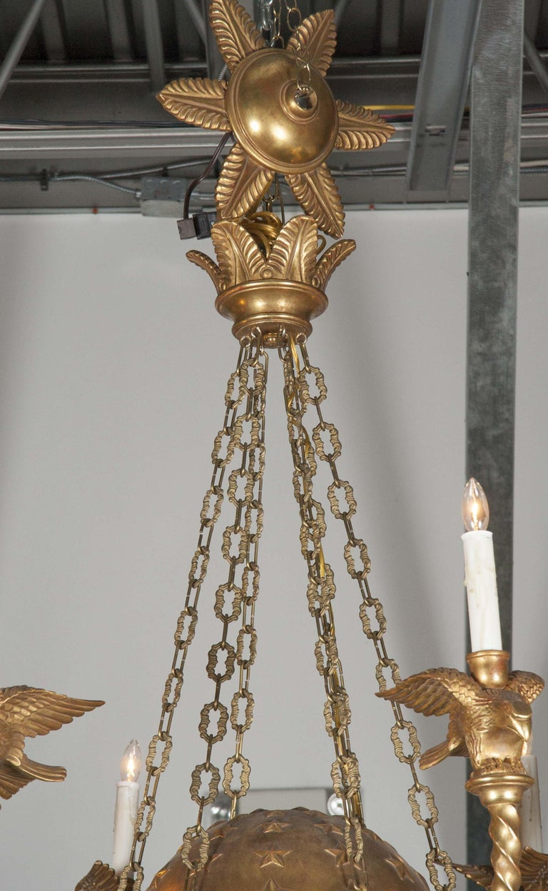 European Empire Style Six-Light Chandelier For Sale