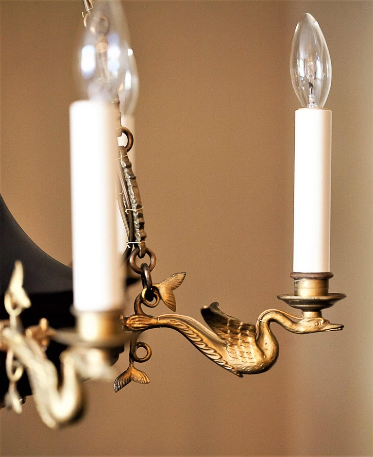 Empire Style Six-Light Figural Chandelier, circa 1895 For Sale 3