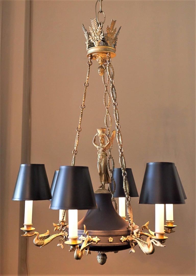 European Empire Style Six-Light Figural Chandelier, circa 1895 For Sale