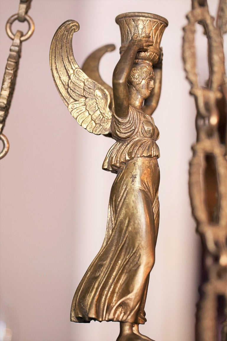 Brass Empire Style Six-Light Figural Chandelier, circa 1895 For Sale