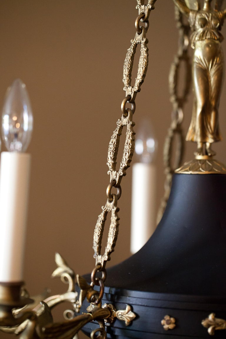 Empire Style Six-Light Figural Chandelier, circa 1895 For Sale 2