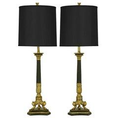 Empire Style Triple Lion Paw Gilt & Black Lacquer Table Lamps