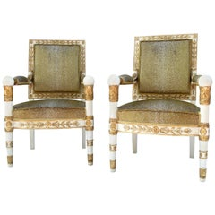 Empire Style White and Gold Pair of Armchairs, Sharkskin Style Trim, 1950s