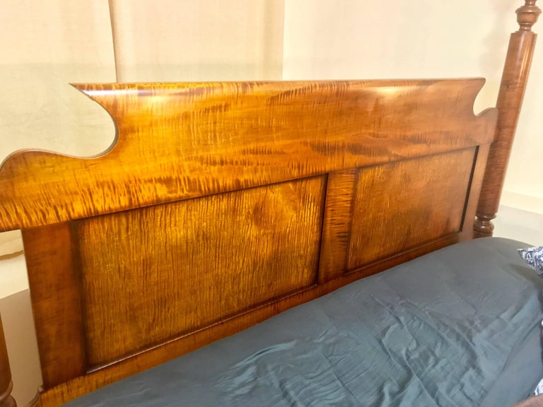 American Empire Tall Post Bed in Tiger Maple, circa 1840 Refitted to a King For Sale
