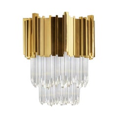 Empire Wall II Small in Brass and Crystal Glass