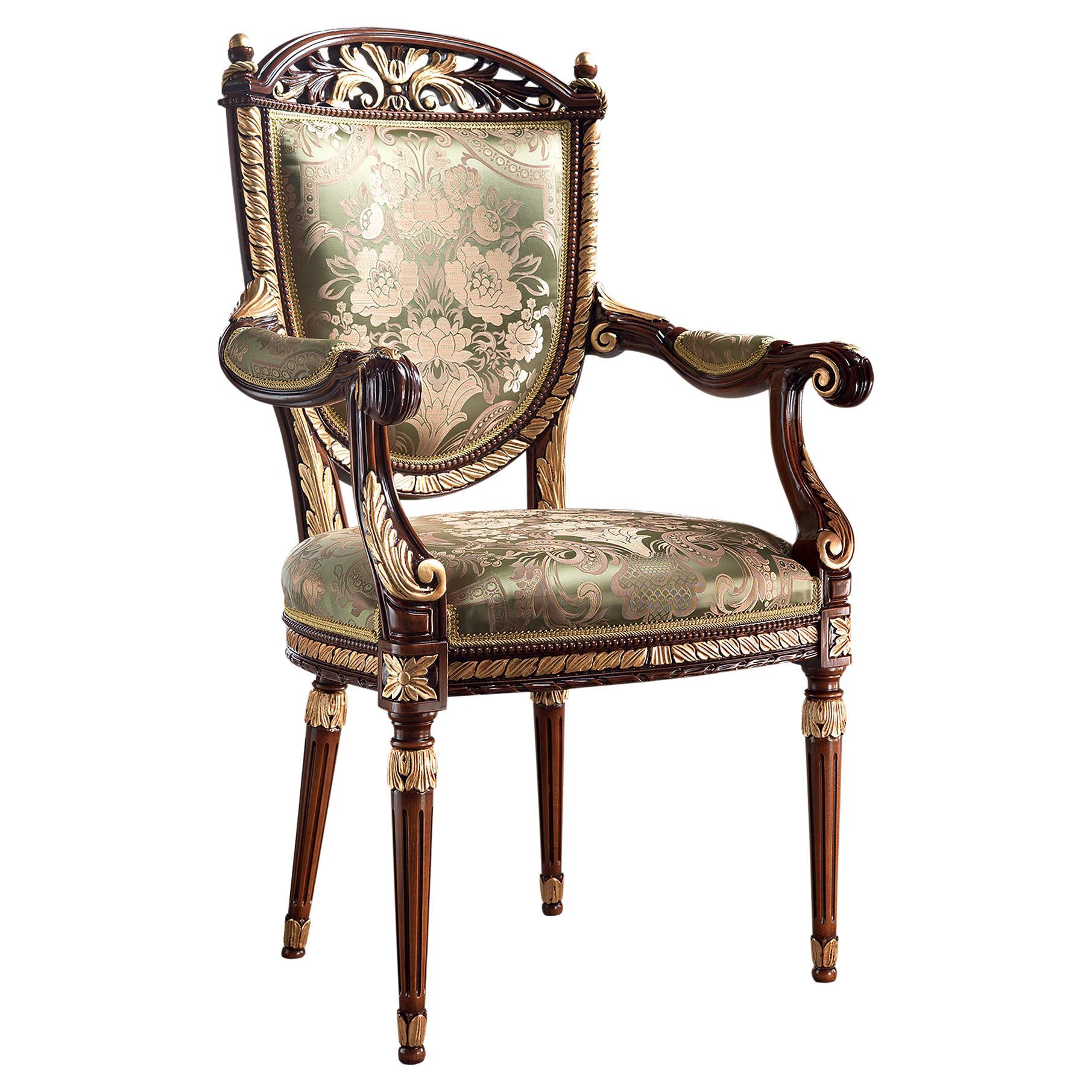 Empire Walnut and Gold Leaf Hand-Made Sitting Armchair by Modenese