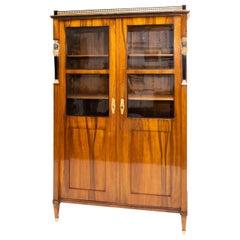 Empire Walnut Bookcase, Early 19th Century