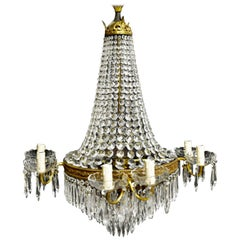Empire Waterfall Chandelier Crystal Sac a Pearl Lamp Lustre Art Nouveau