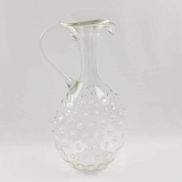 Mid-Century Modern  Empoli 1950s Hand Blown Art Glass Pitcher Decanter For Sale