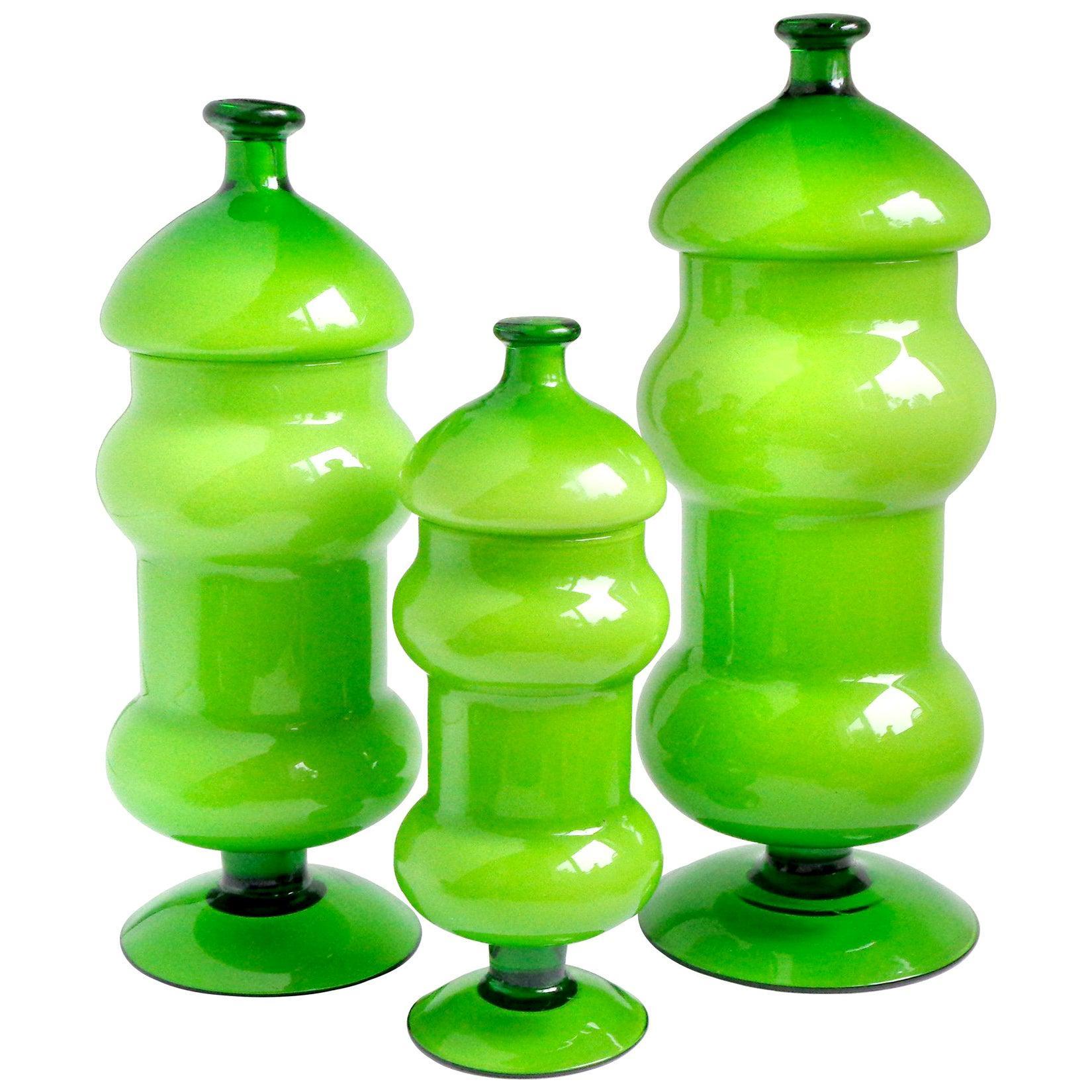 Empoli Bright Green White Italian Art Glass Three-Piece Container Cookie Jar Set