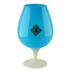 Empoli 'Florence, Italy' Cognac Glass in Turquoise in Opaline, 1970s