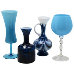Empoli 'Florence, Italy' Vases in Blue Opaline, 1970s