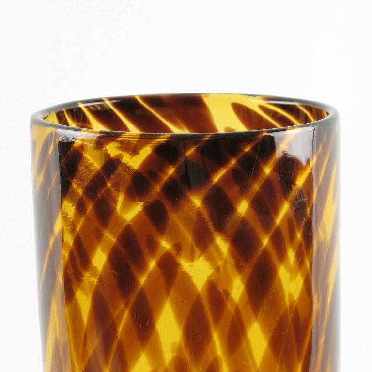 Mid-Century Modern Empoli for Christian Dior Tortoiseshell Glass Tumbler Vase For Sale