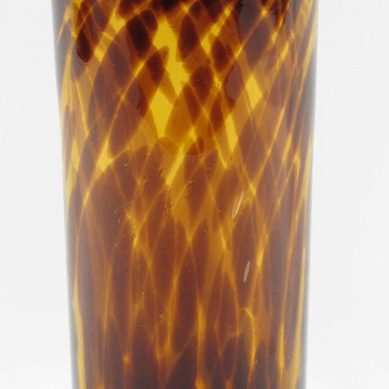 Empoli for Christian Dior Tortoiseshell Glass Tumbler Vase In Excellent Condition For Sale In Atlanta, GA