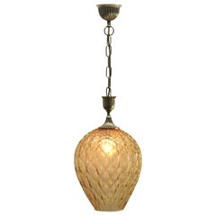 Empoli Glass Pendant Lamp with Vertical Ribs and Diamond Optic Light Amber Tint