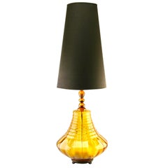Empoli Glass Table Lamp with Optical Vertical-Horizontal Ribs Light Amber Tint