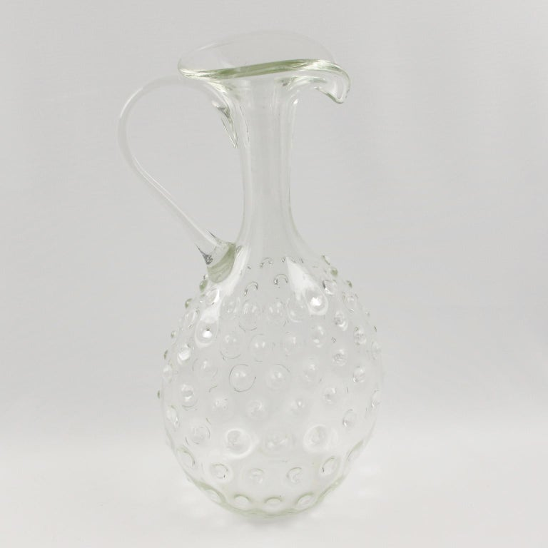 Mid-Century Modern  Empoli 1950s Hand Blown Art Glass Pitcher Decanter For Sale