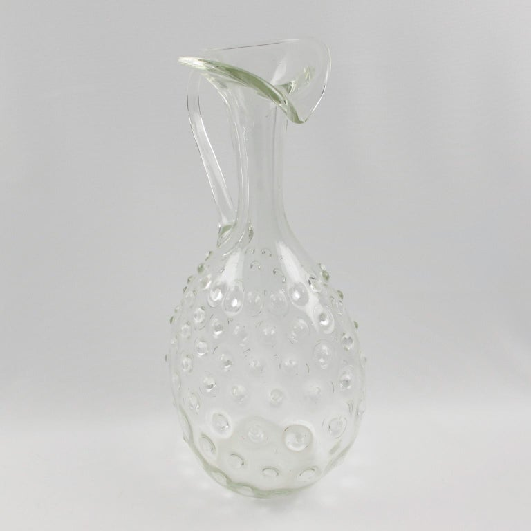 Empoli 1950s Hand Blown Art Glass Pitcher Decanter For Sale 1