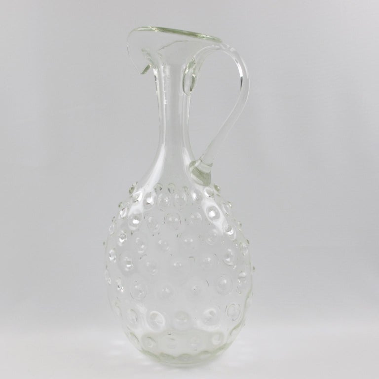 Empoli 1950s Hand Blown Art Glass Pitcher Decanter For Sale 2