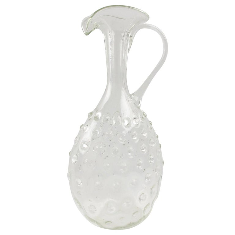 Empoli 1950s Hand Blown Art Glass Pitcher Decanter For Sale