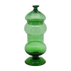 Empoli, Italy, Green Art Glass Apothecary Jar 'Empoli Verde', Mid-20th Century
