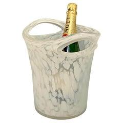 Empoli Midcentury Milky Glass Champagne or Wine Italian Ice Bucket, 1960s