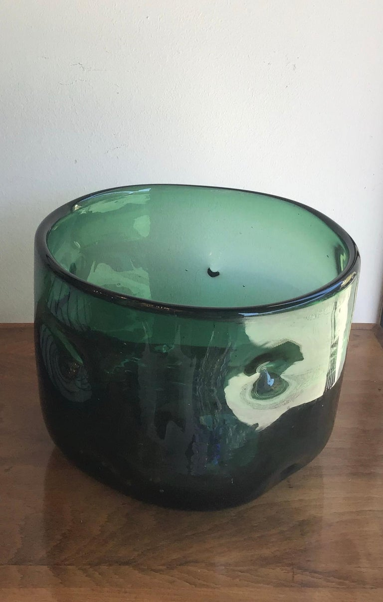 Empoli Vase Blown Glass Green, 1955, Italy For Sale 5