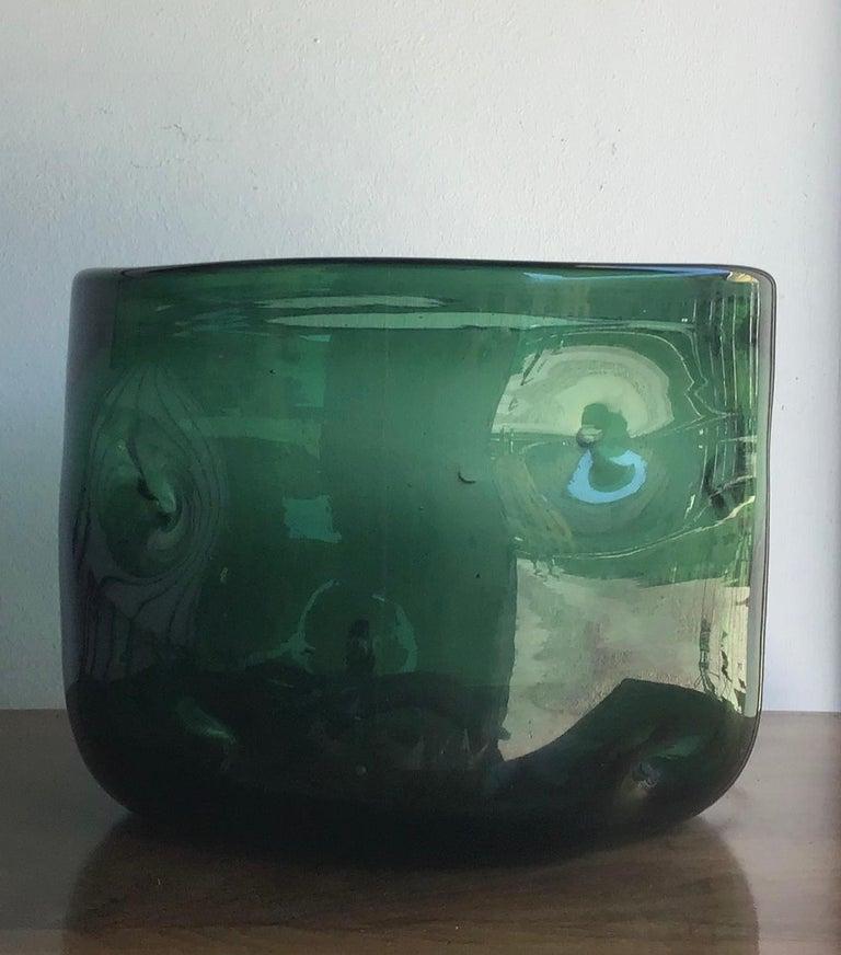 Empoli vase blown glass green, 1955, Italy.