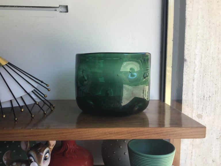 Other Empoli Vase Blown Glass Green, 1955, Italy For Sale