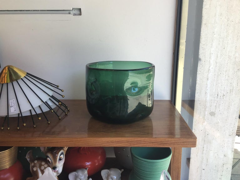 Empoli Vase Blown Glass Green, 1955, Italy In Excellent Condition For Sale In Milano, IT