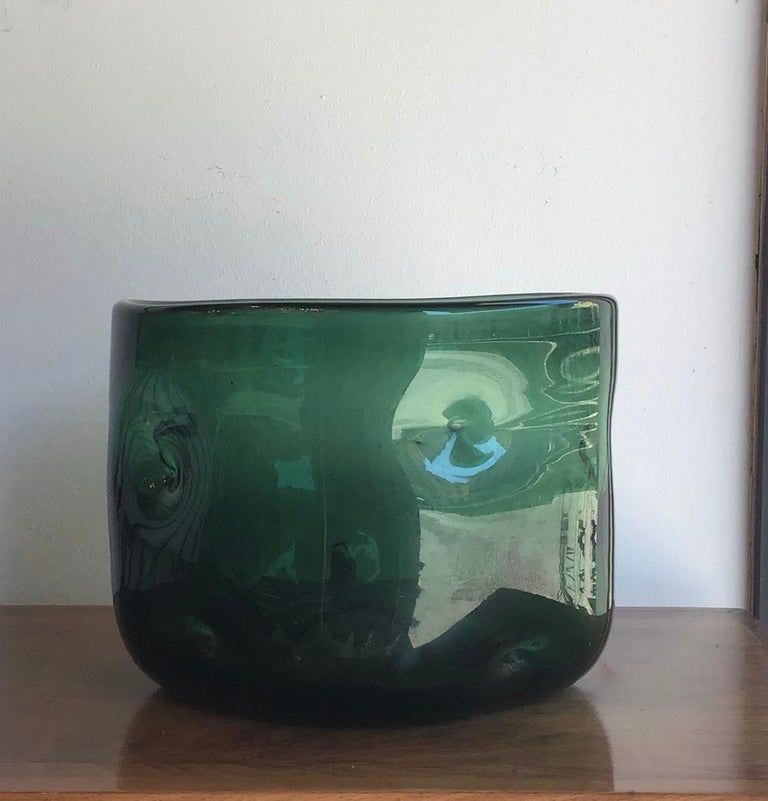 Empoli Vase Blown Glass Green, 1955, Italy For Sale 1