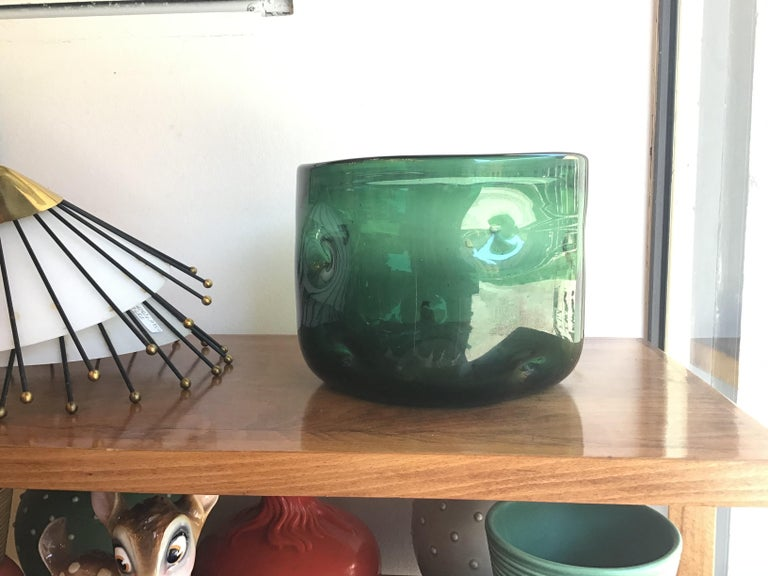 Empoli Vase Blown Glass Green, 1955, Italy For Sale 2
