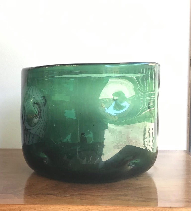 Empoli Vase Blown Glass Green, 1955, Italy For Sale 3