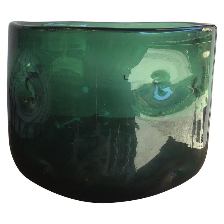Empoli Vase Blown Glass Green, 1955, Italy For Sale