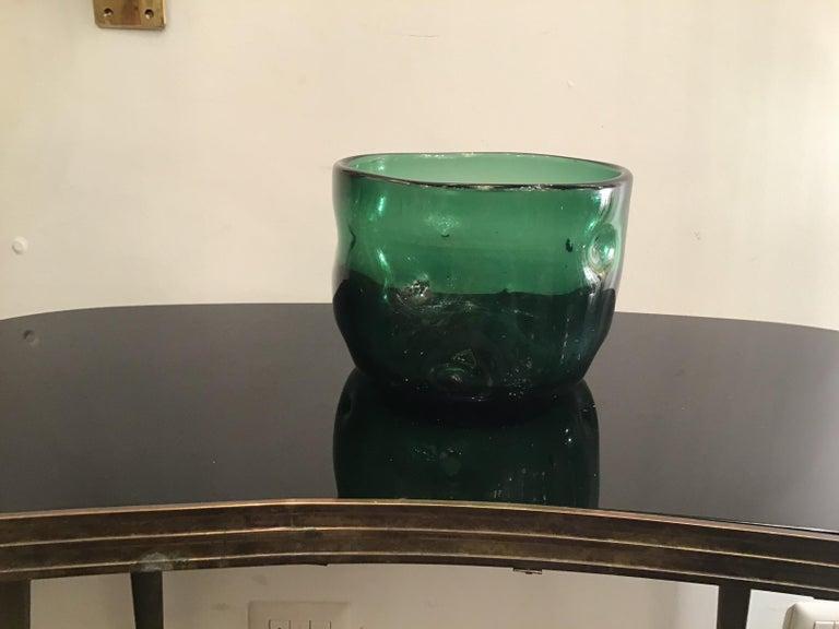 Empoli vase glass Murano green, 1950, Italy.