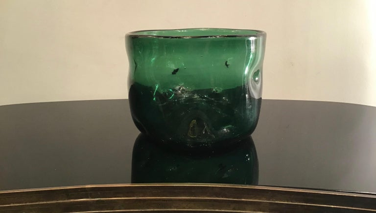 Italian Empoli Vase Glass Murano Green, 1950, Italy For Sale