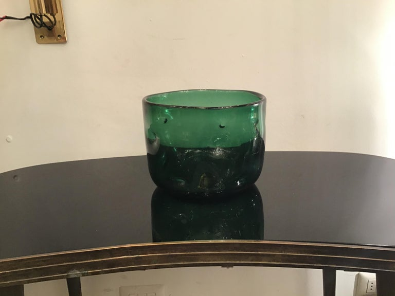 Empoli Vase Glass Murano Green, 1950, Italy In Excellent Condition For Sale In Milano, IT
