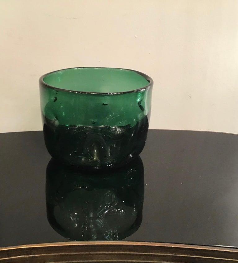 Mid-20th Century Empoli Vase Glass Murano Green, 1950, Italy For Sale