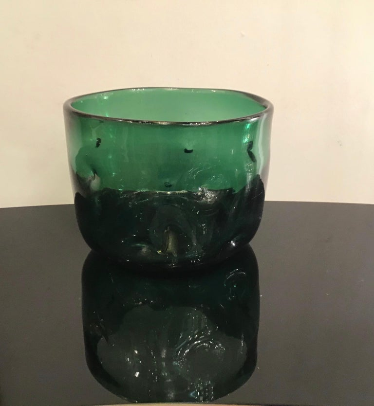 Empoli Vase Glass Murano Green, 1950, Italy For Sale 1