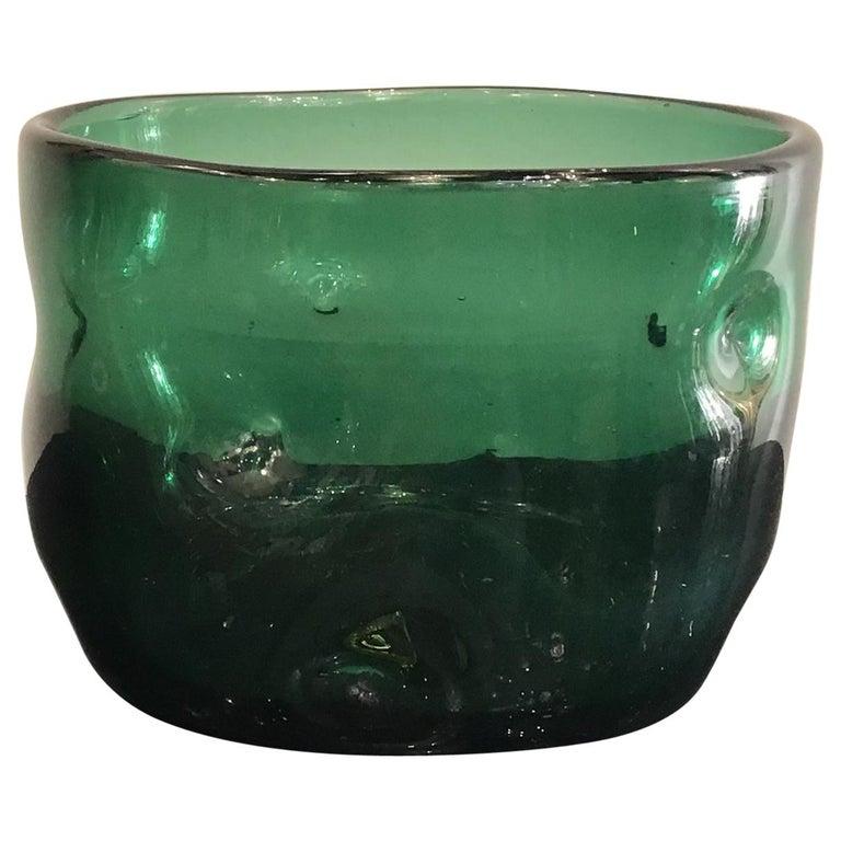 Empoli Vase Glass Murano Green, 1950, Italy For Sale
