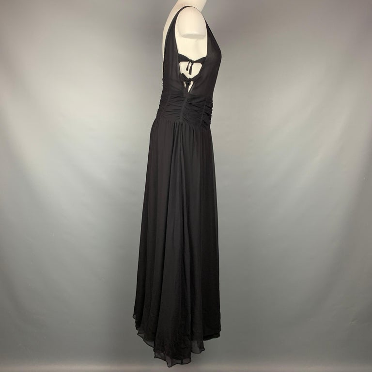 EMPORIO ARMANI 2002 Size 6 Black Chiffon Ruched Plunging Gown In Good Condition For Sale In San Francisco, CA