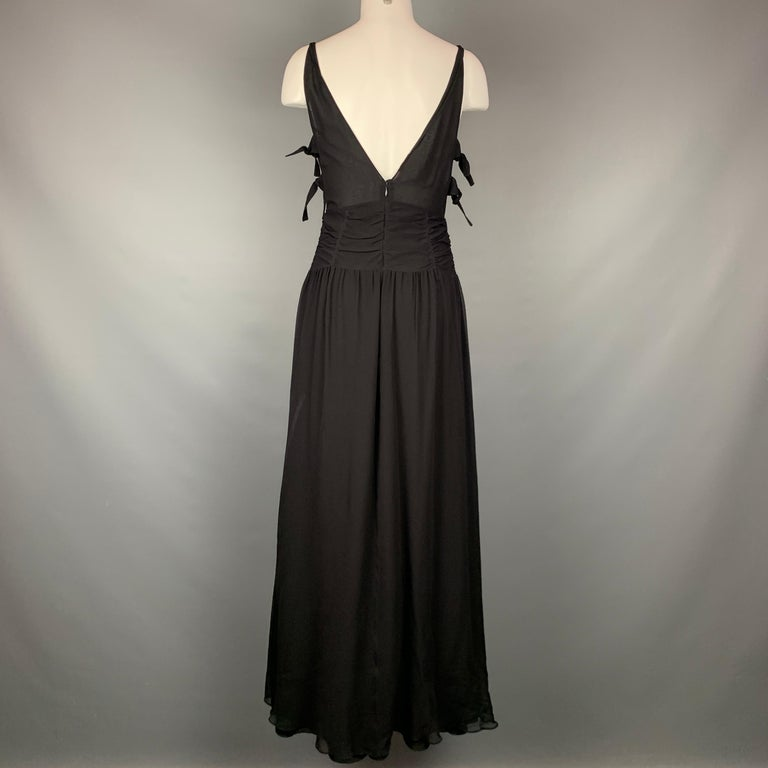 Women's EMPORIO ARMANI 2002 Size 6 Black Chiffon Ruched Plunging Gown For Sale
