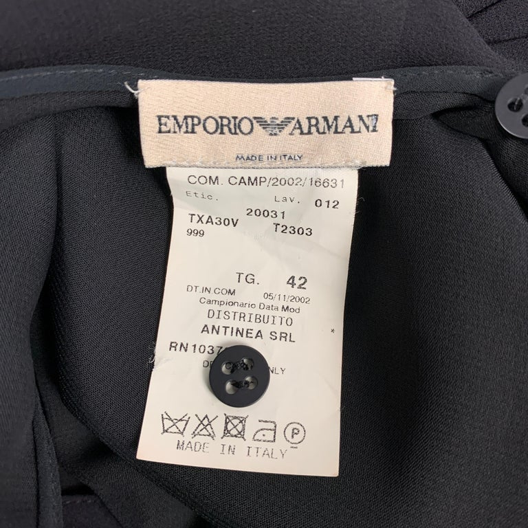 EMPORIO ARMANI 2002 Size 6 Black Chiffon Ruched Plunging Gown For Sale 1