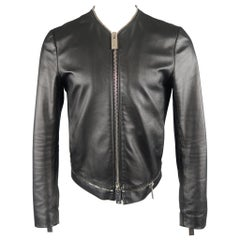 EMPORIO ARMANI 38 Black Leather Collarless Oversized Zipper Jacket