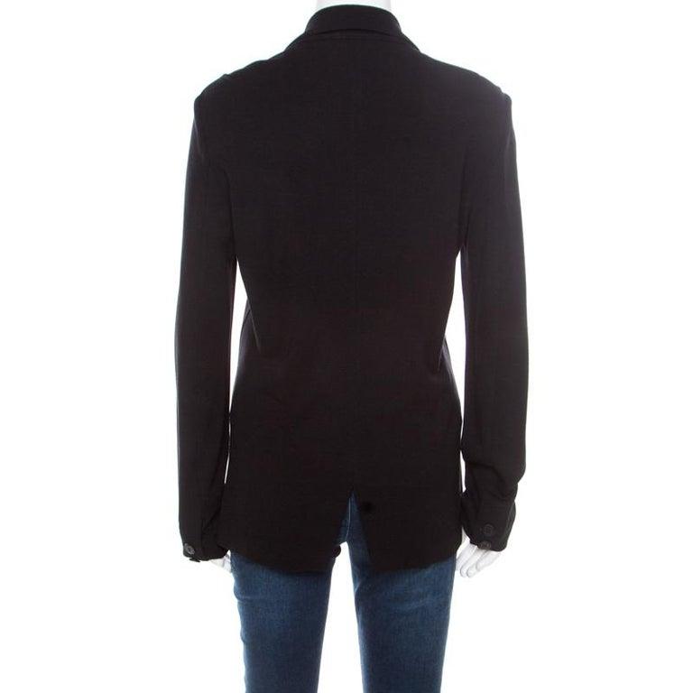 1b30dbfdf4 Emporio Armani Black Knit Tailored Blazer L