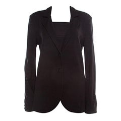 Emporio Armani Black Knit Tailored Blazer L