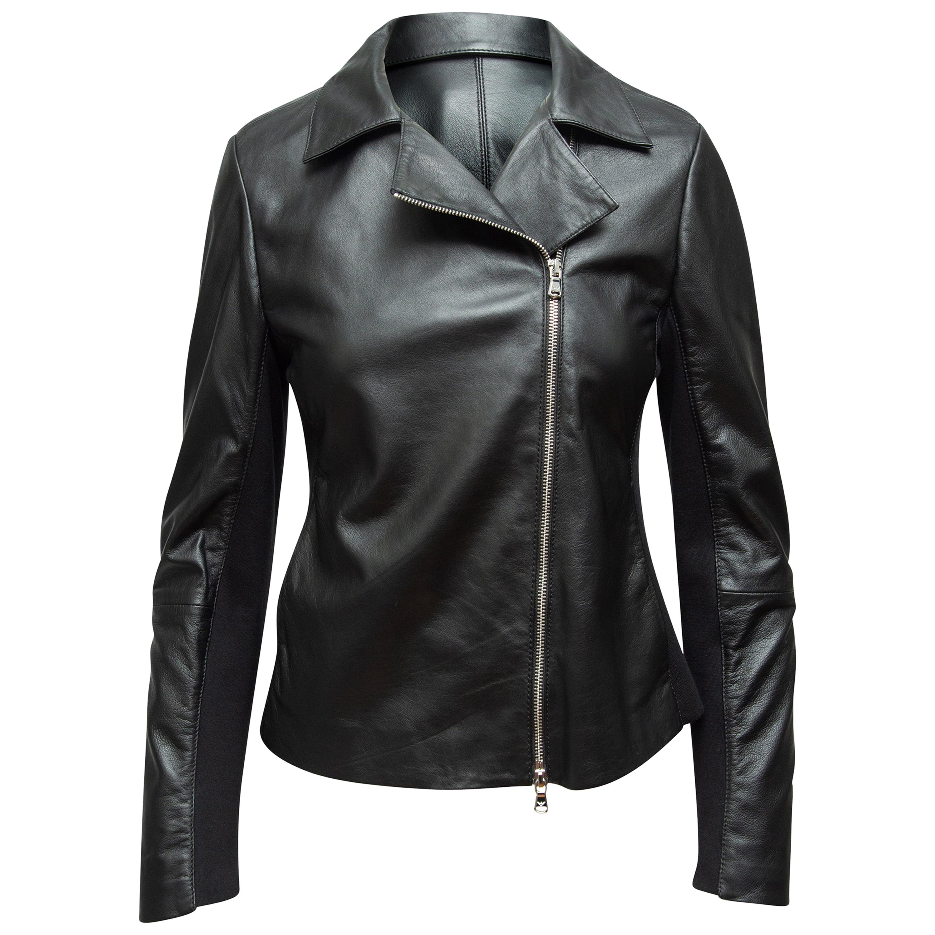 Emporio Armani Black Leather Moto Jacket